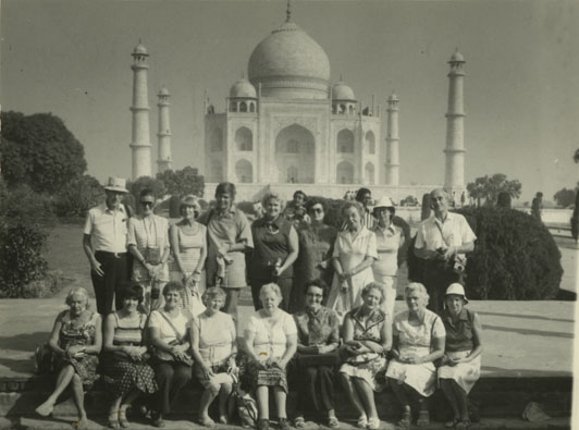 Aileen Meagher (first person far left, front row) and group in front of the Taj Mahal, Agra, India