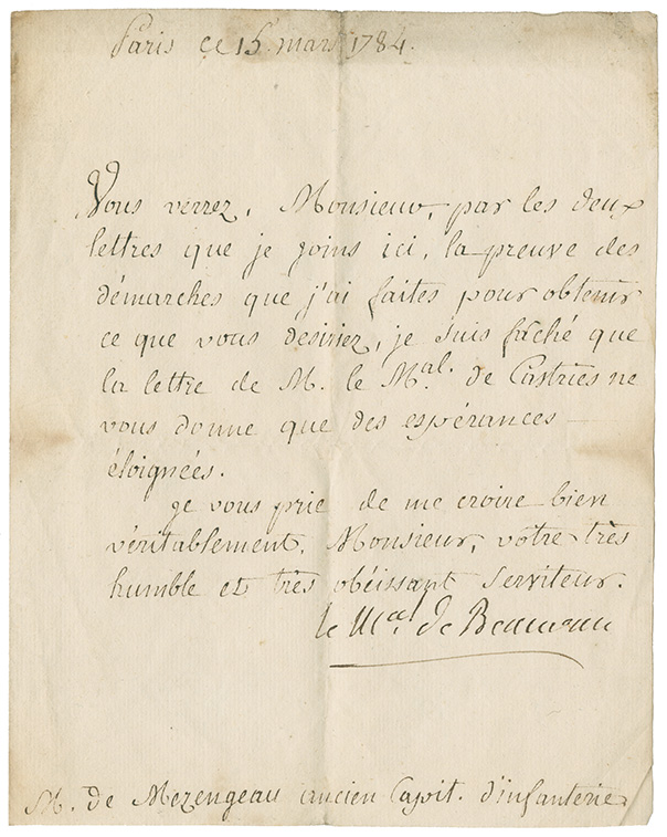 Letter from le M.ccl de Beauveau of Paris, France to M. de Mezangeau, former infantry captain