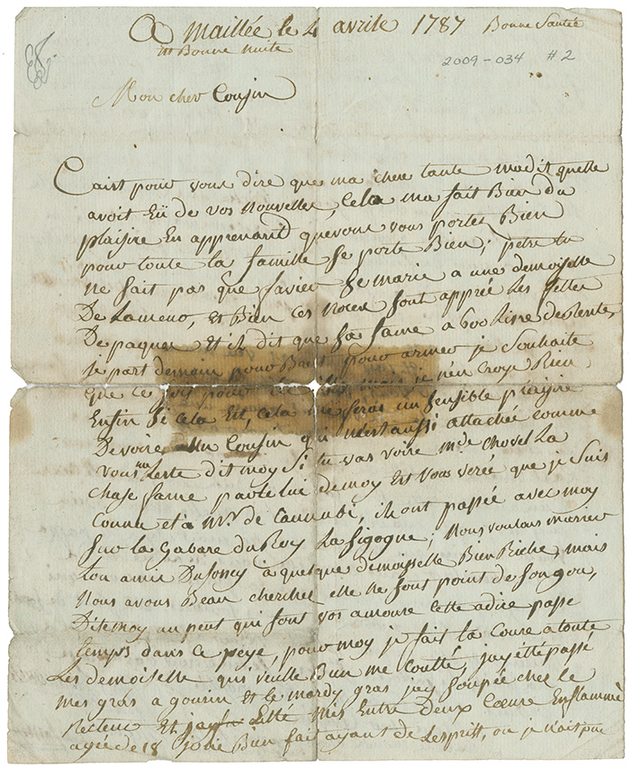 Letter from Hipolite Dufoney of Maillée, France sent to his cousin