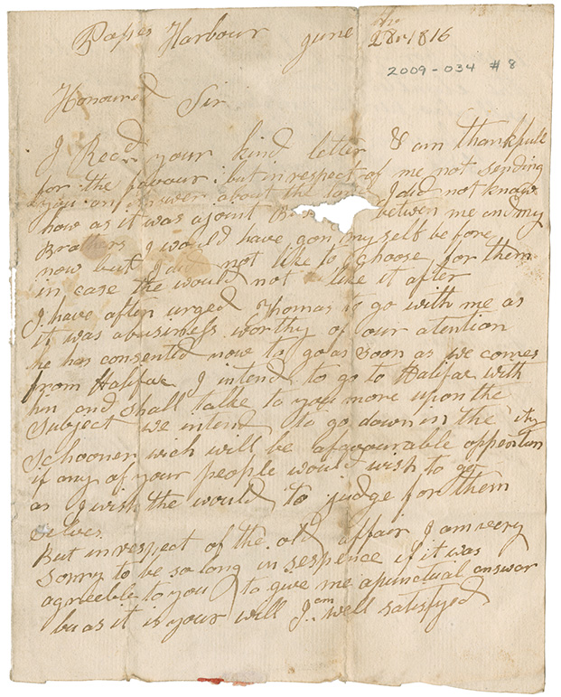 Letter from William A. Warren of Pope's Harbour, Nova Scotia to Mr. Louis Mezangeau of Eastern Passage, Nova Scotia (to the care of Mr. John Henderson – Halifax)