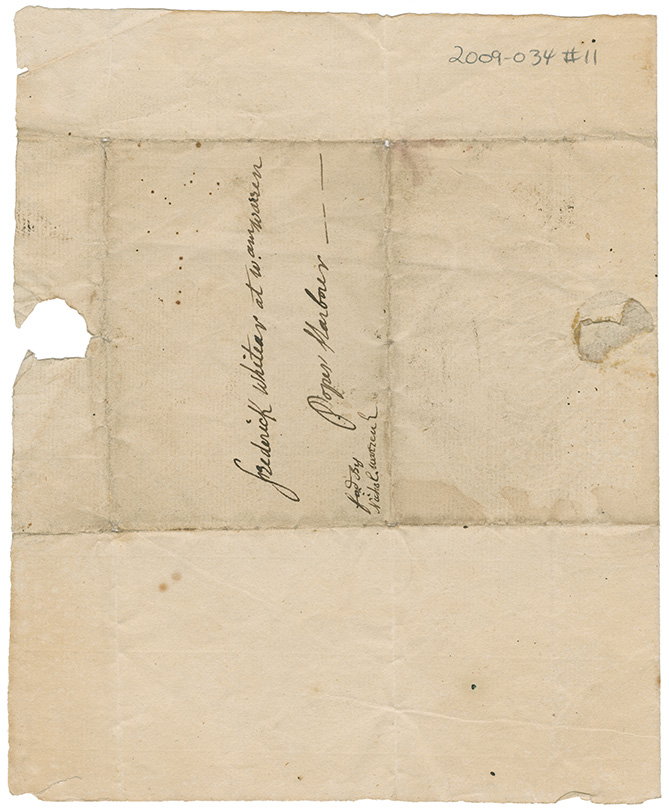 Letter from Louis de Mezangeau, Halifax, Nova Scotia to Frederick Whitear at William Warren of Pope's Harbour, Nova Scotia (to be forwarded by Nicholas Warren)