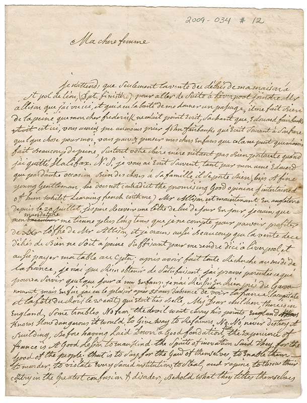 Letter from Louis de Mezangeau at Paris, France to his wife in Halifax, Nova Scotia