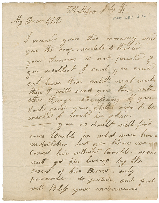 Letter from Mrs. Martha Mulock to her son, Thomas Mulock, Eastern Passage, Nova Scotia