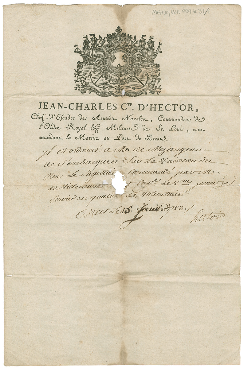 Embarkation order from Jean-Charles Cte. D'Hector, commander of the Royal Military Order of St. Louis