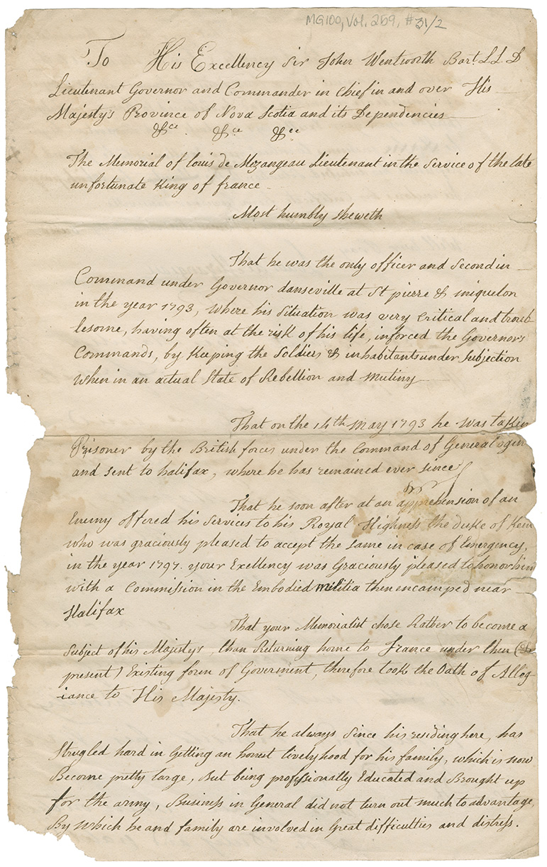 Draft of a petition to Governor John Wentworth for a pension