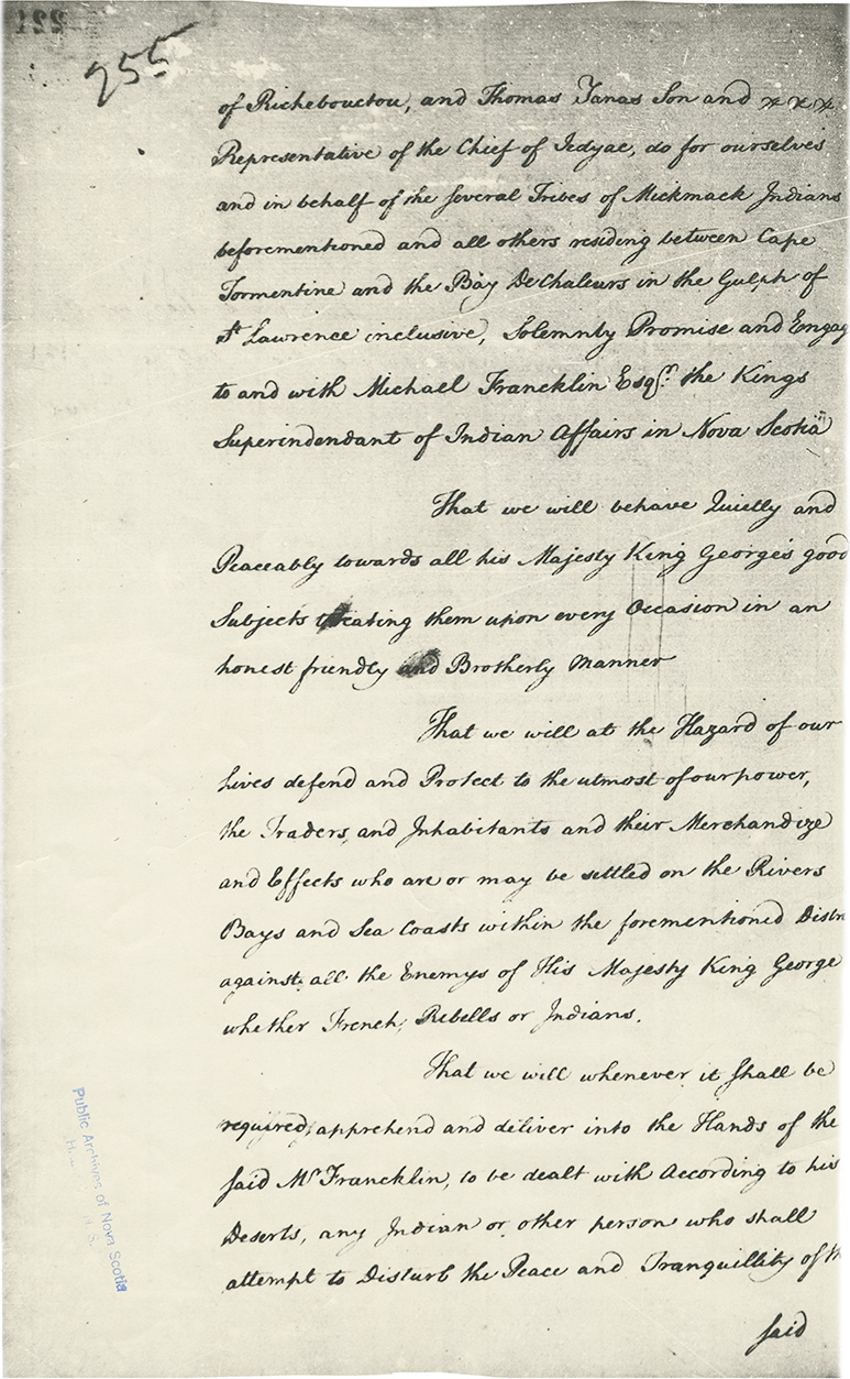 Copy of Treaty of 1779 signed at Windsor between John Julien, Chief and Michael Francklin, representing the Government of Nova Scotia.