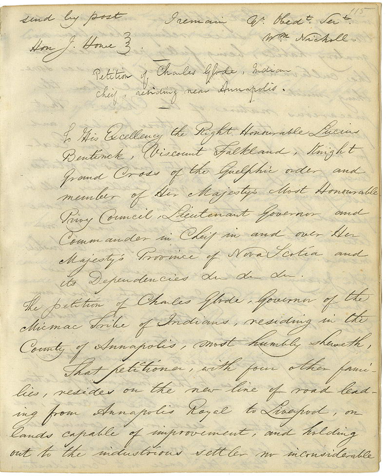Petition of Charles Glode, Governor of his tribe of Mi'kmaq residing in the County of Annapolis, to Lt. Gov. Viscount Falkland requesting seed, grain, hoes etc.