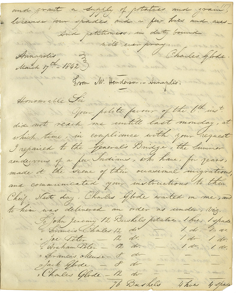 Letter from Andrew Henderson of Albion Vale to Joseph Howe regarding travelling to General's Bridge, a site of an annual summer encampment of Mi'kmaq. Also regarding potato distribution, numbers and locations of Mi'kmaq throughout Annapolis County and whether Jack or Charles Glode is the true chief of the Mi'kmaq in the area.