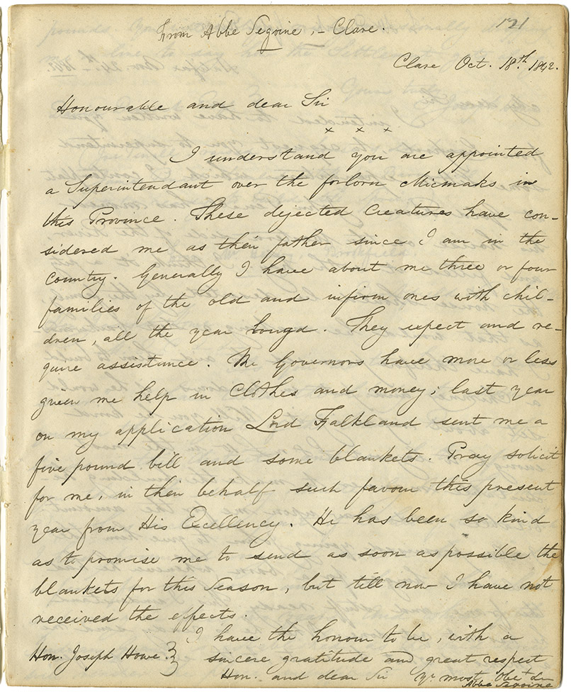 Letter from Abbe' Sigogne of Clare to Howe requesting blankets and relief for the Mi'kmaq of the district.