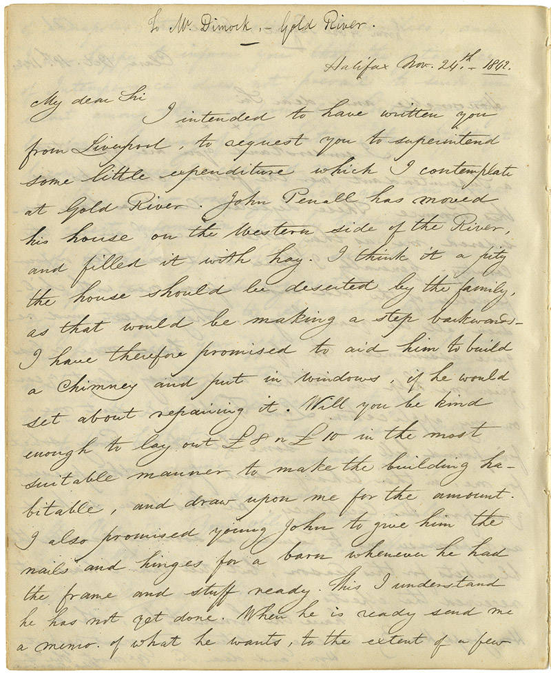 Letter from Howe to David Dimock of Gold River regarding the supervision of expenditure for installation of a chimney and windows in John Pennall's house.
