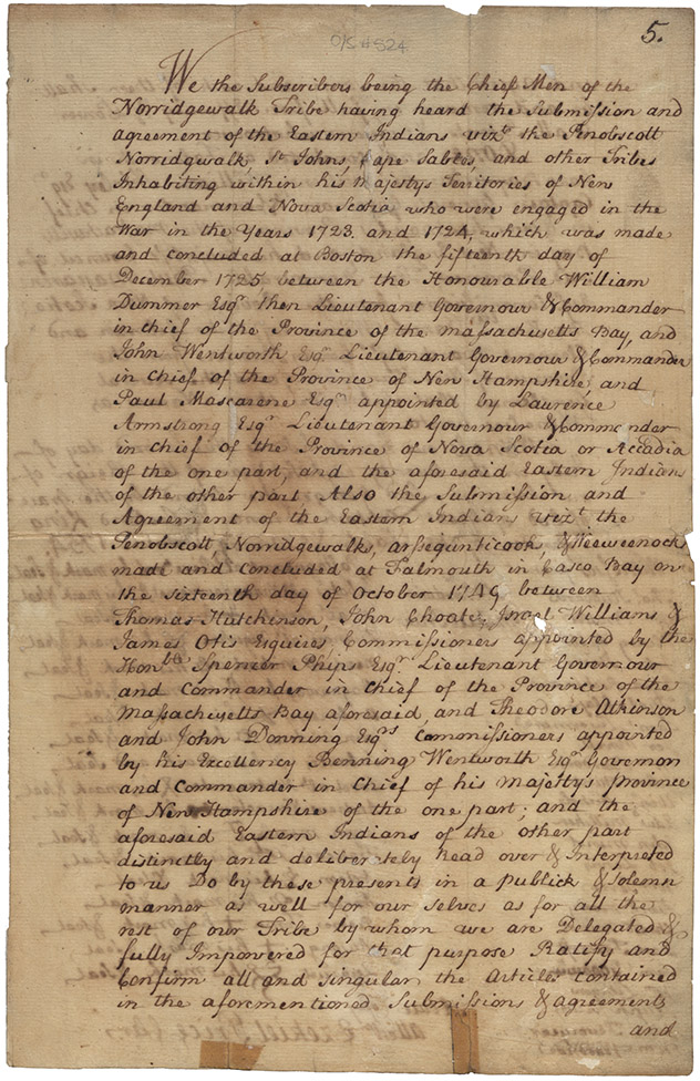 True Copy of the 1754 Ratification by the Norridgewolk of the Treaty of 1725
