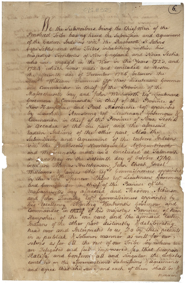 True Copy of the 1754 Ratification by the Penobscot of the Treaty of 1725