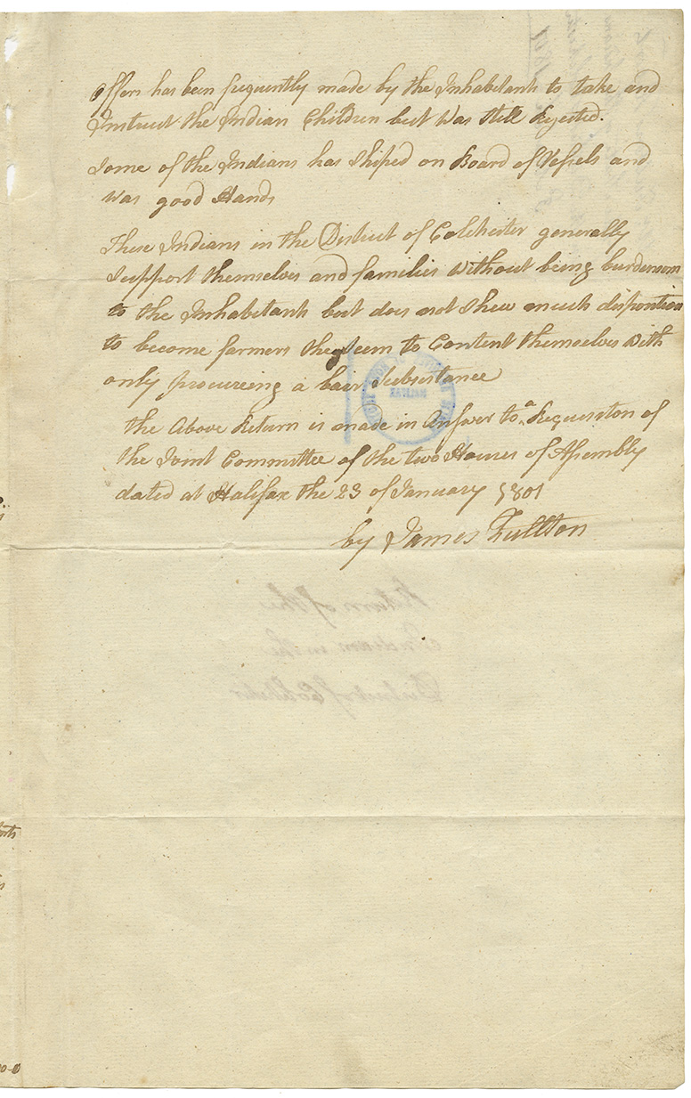 Mr. Fulton's return and reports of the state of the Mi'kmaq in Colchester. 1801.