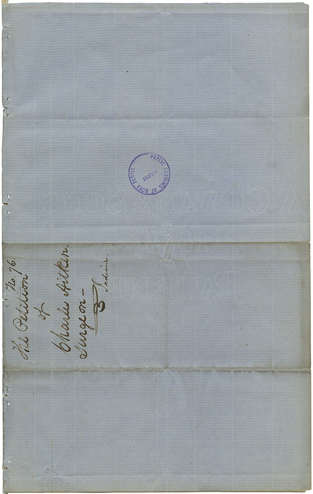 Account of Dr. Charles Aitken of Lunenburg for medical services rendered to the Mi'kmaq and petition of Dr. Aitkens to Members of the House of Assembly requesting payment for services provided to Mi'kmaq.