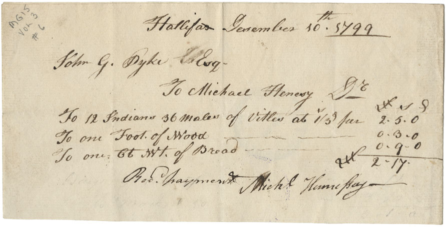 Receipt of Michael Hennesy for £2/17 to cover expenditures of wood, bread and food.