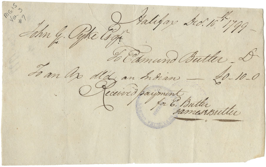 Receipt from E. Butler for payment of relief for Mi'kmaq. £0-10-0.