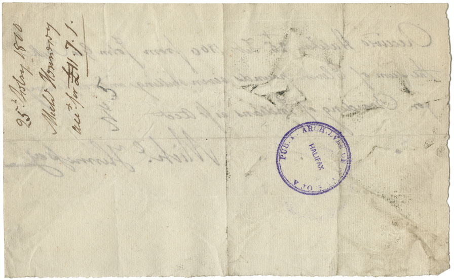 Receipt by James Croucher of £3-10-0 for 3 barrels of mackerel at 23/4 delivered to Mi'kmaq.