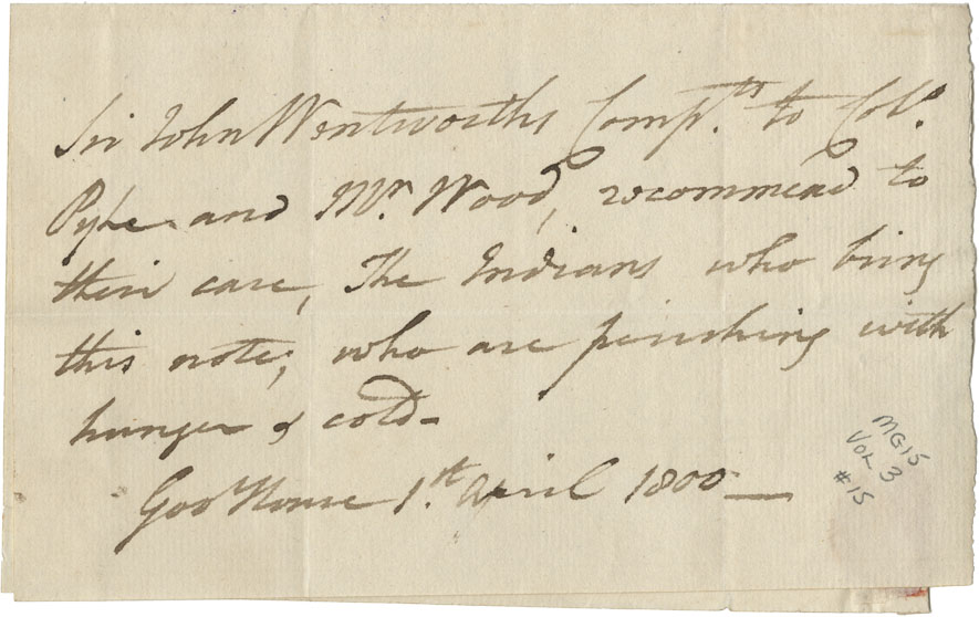 Sir John Wentworth's note of recommendation for the Mi'kmaq bearing his note, to Pyke and Wood.