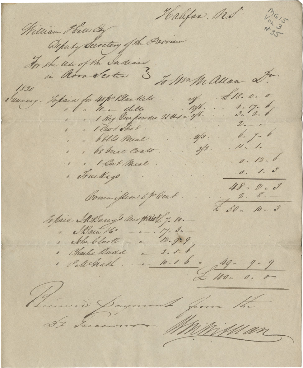 William McAllen's receipt from Deputy Secretary for provisions and goods to Mi'kmaq.