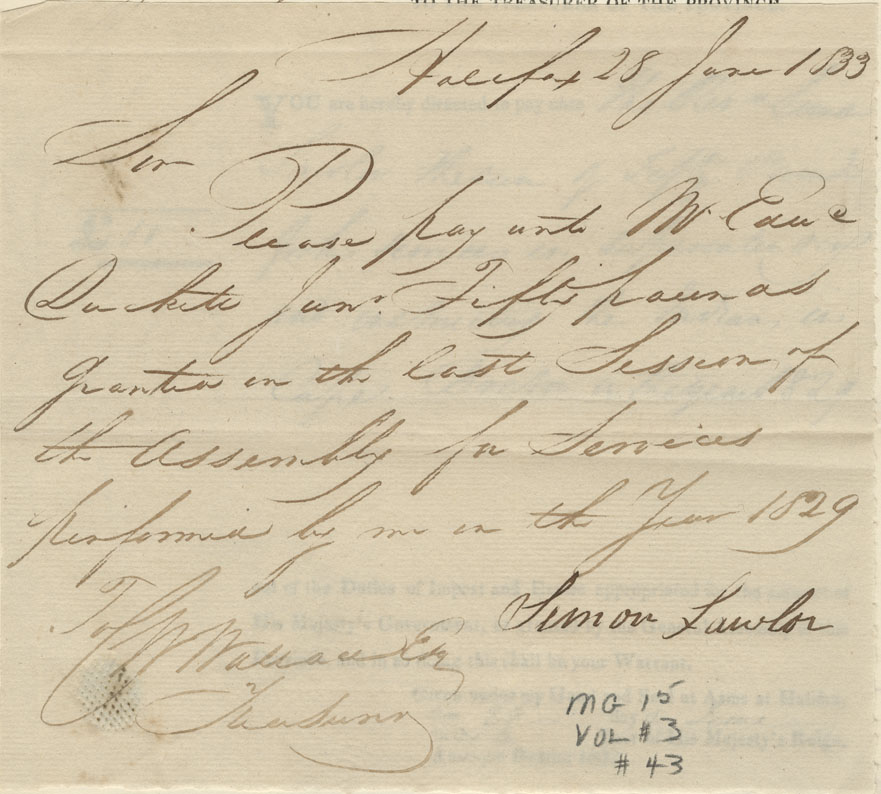 Order from Thomas Jeffrey to pay Rev. Simon Lawler £50 for superintending and instructing Mi'kmaq in Cape Breton in 1829.