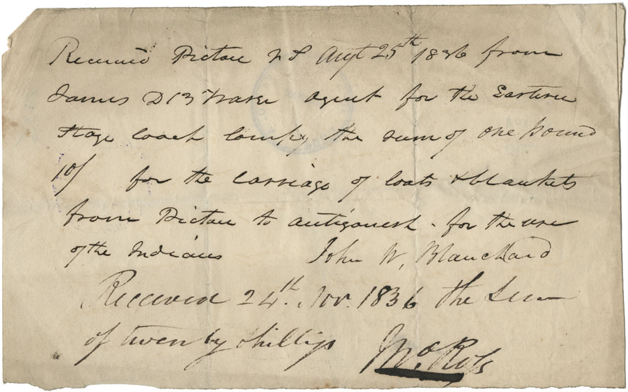 Receipt for £1-0-0 from John Blanchard for carriage of coats and blankets from Pictou to Antigonish for the use of the Mi'kmaq.