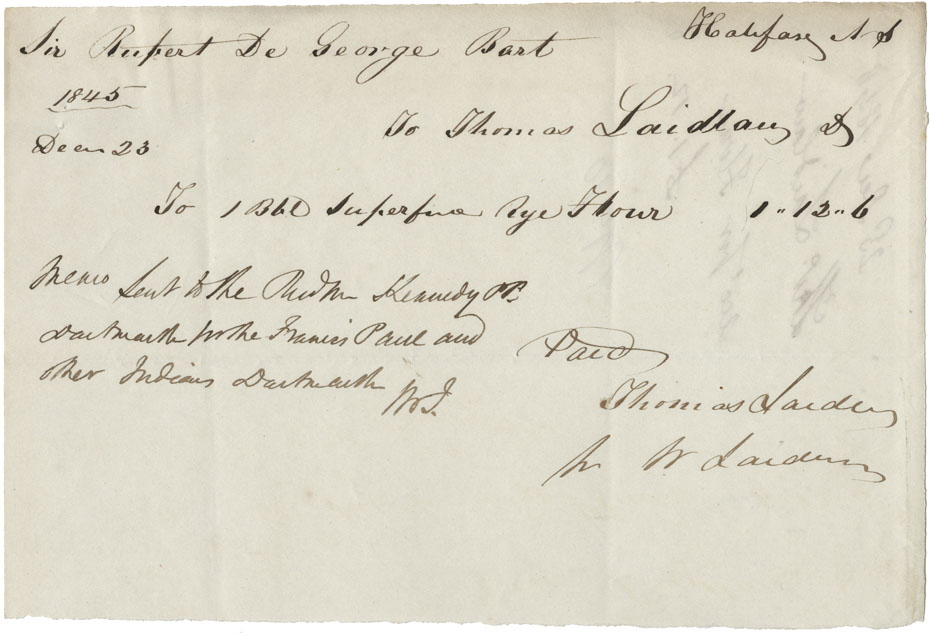 Bills and receipts for supplies for Shubenacadie Mi'kmaq in 1845.
