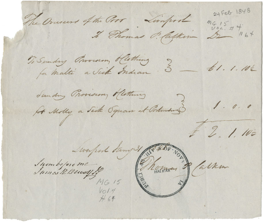 Account of services rendered to sick and destitute Mi'kmaq in the township of Liverpool.