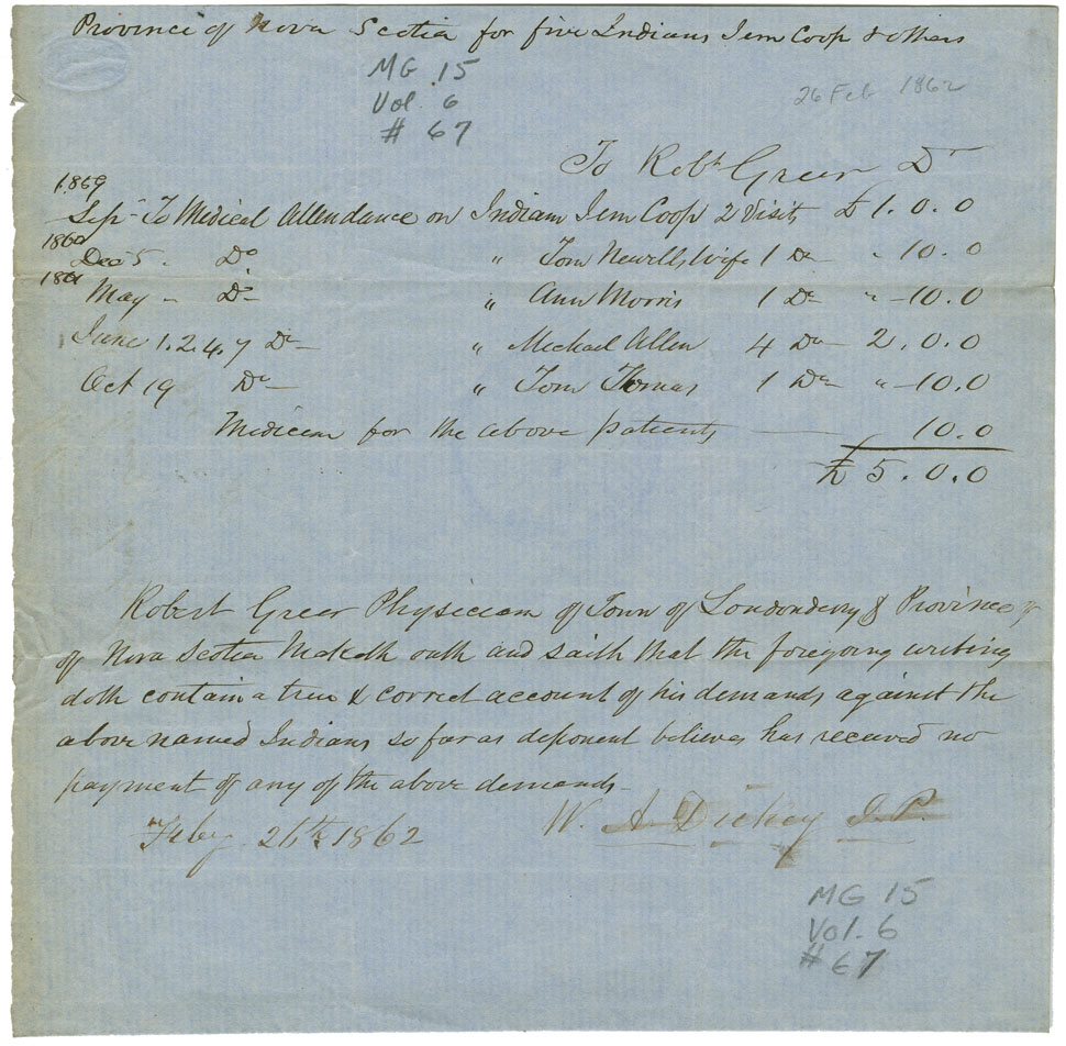 Verification of account of medical services rendered by Dr. Robert Greer to Mi'kmaq in Londonderry.