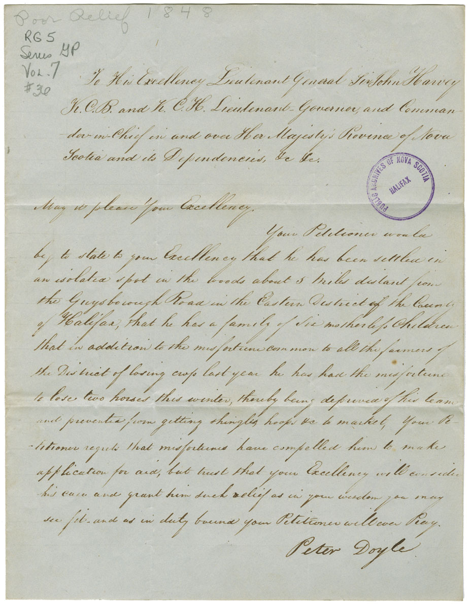 Petition of Peter Tonay [Toney?] and Mi'kmaq near New Glasgow for relief.