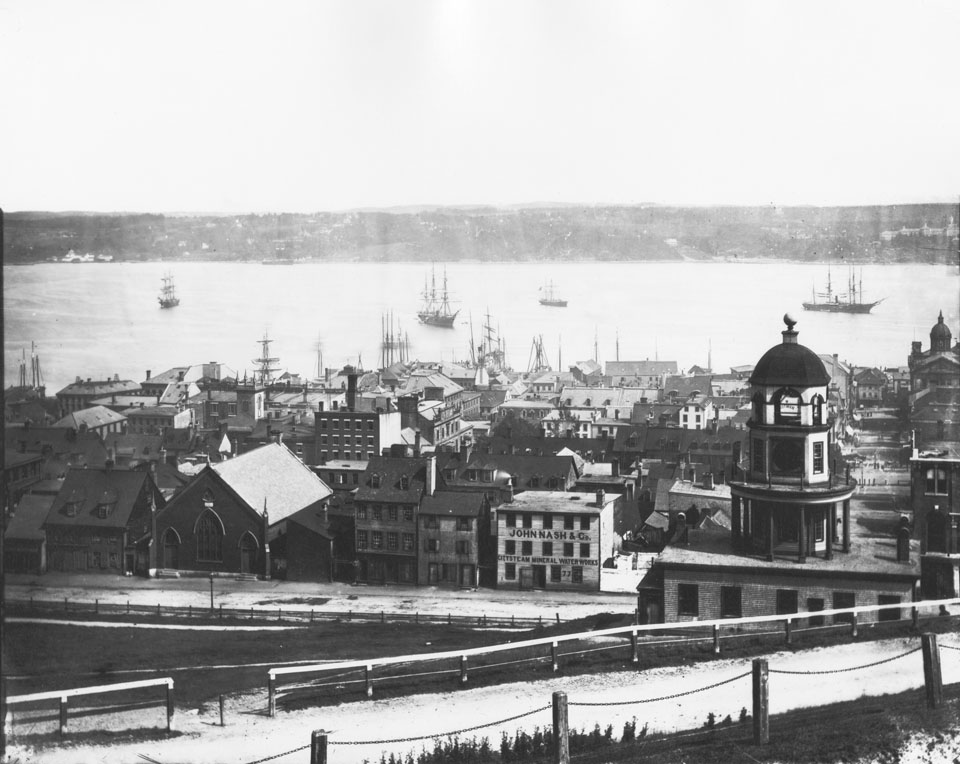 Notman's Panorama from the Citadel, frame three looking across Halifax Harbour with the Town Clock and Brunswick street foreground