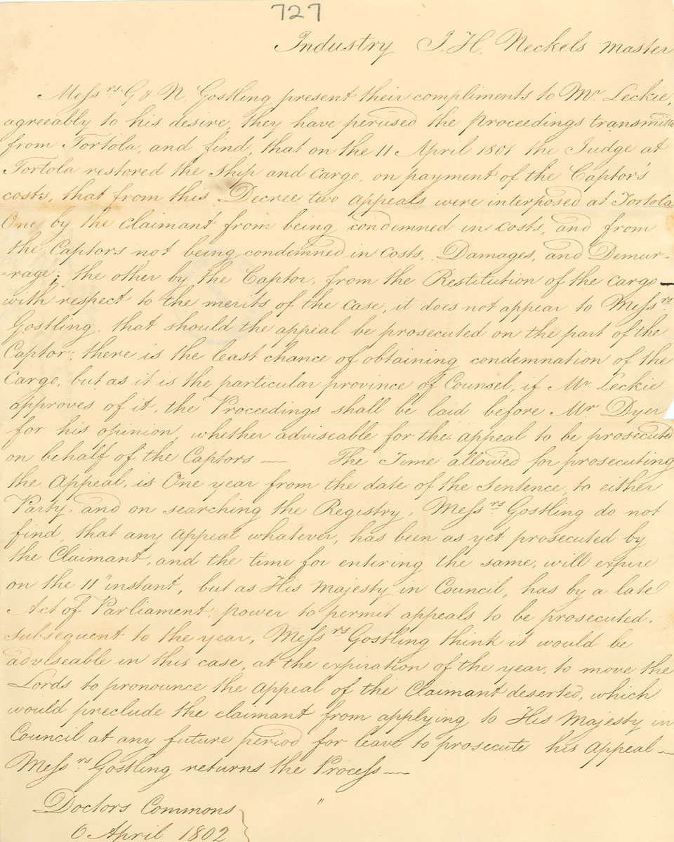 Letter, Messrs. Gostling to George Leckie