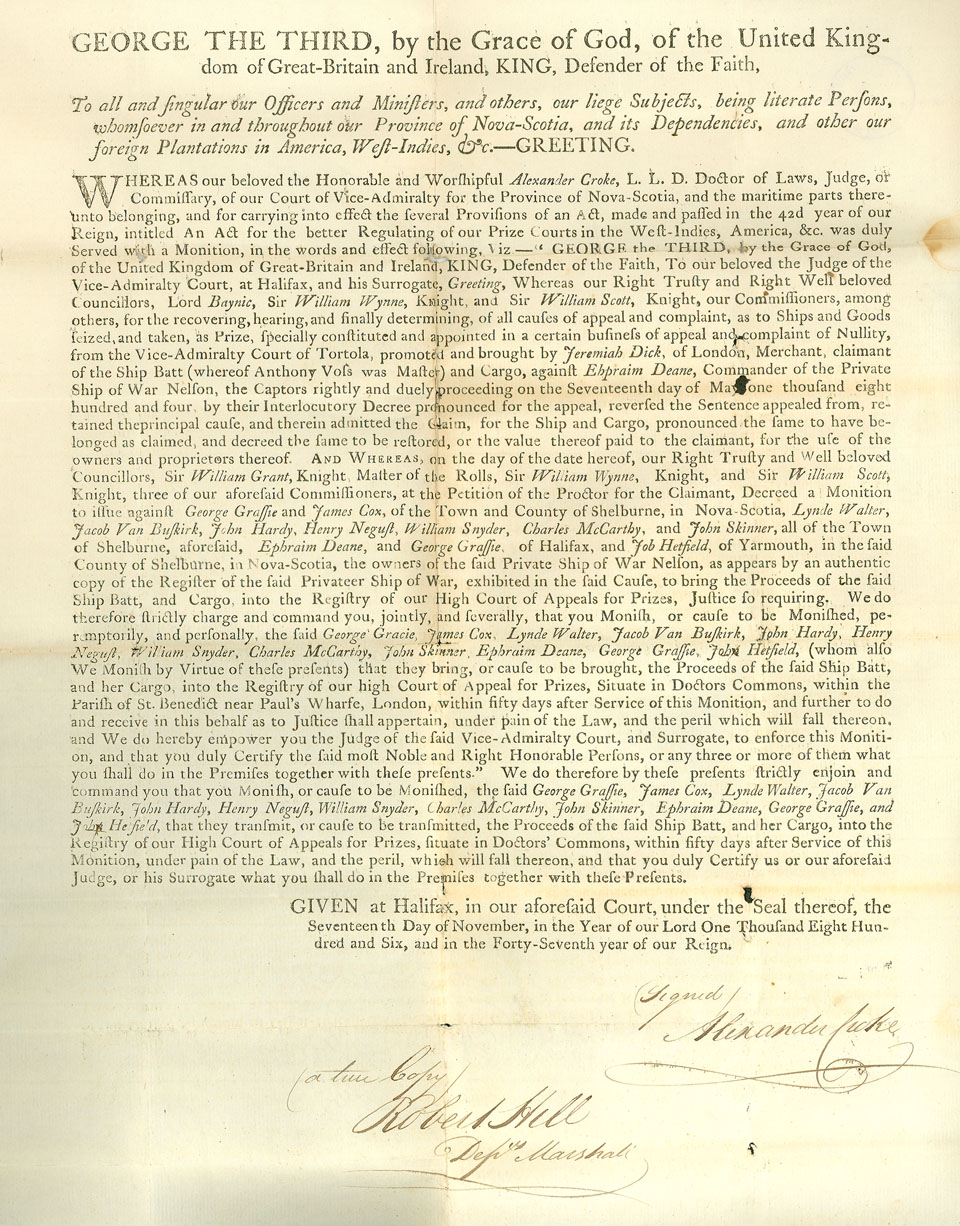 Monition to Ephraim Deane and the owners of the privateer ship <i>Nelson</i>