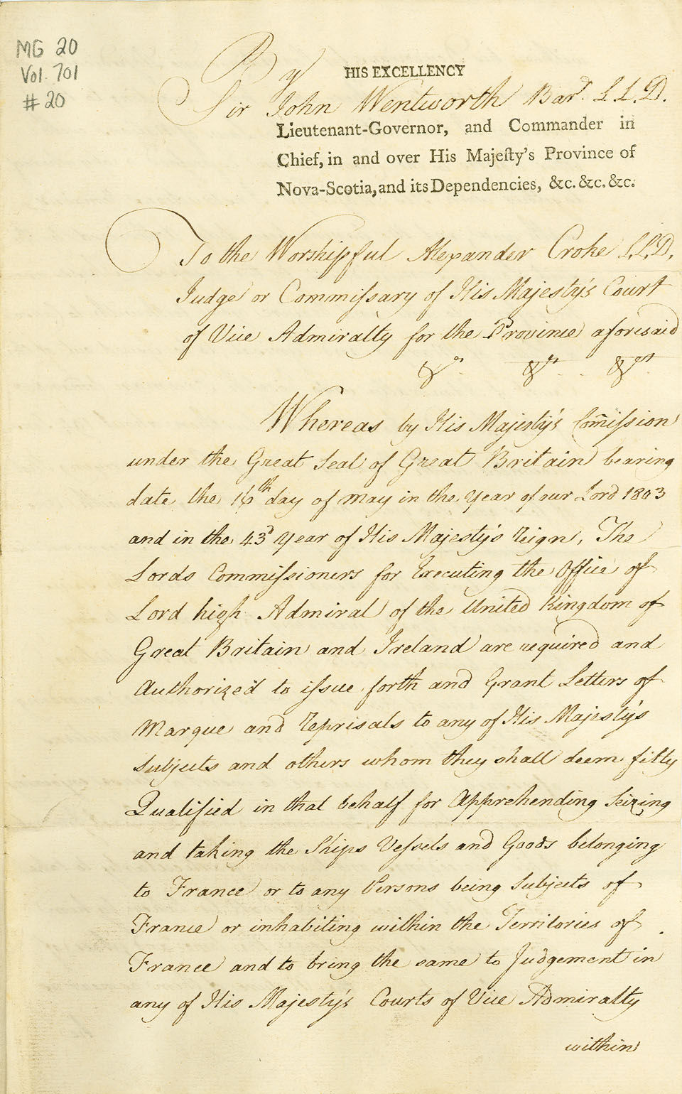 Letter of Marque, <i>Duke of Kent</i>