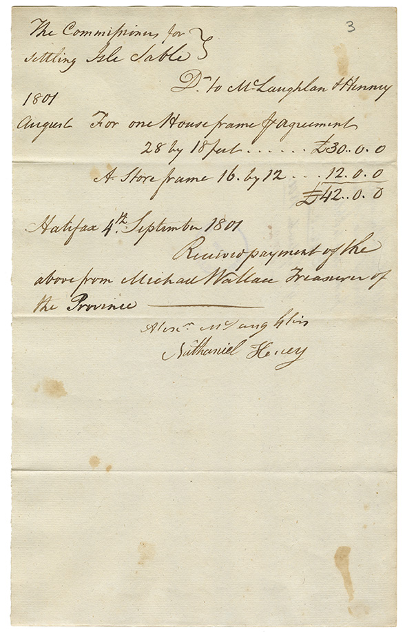 Receipt for a house frame and store frame, directed to McLaughlan & Henry