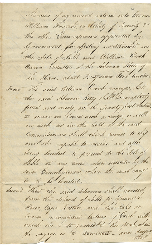 Minutes of legal agreement between William Forsyth and William Crook regarding Settlement on the Isle of Sable