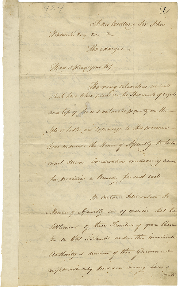 Address from the House of Assembly to Lieutenant Governor Wentworth on the necessity of forming an Establishment on Sable Island for the protection of the lives and property, cash on the Islands