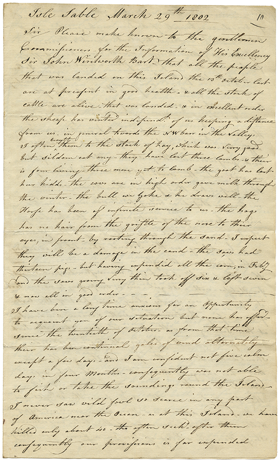 Letter from James Morris, Superintendent of the Island to Honorable Charles Morris