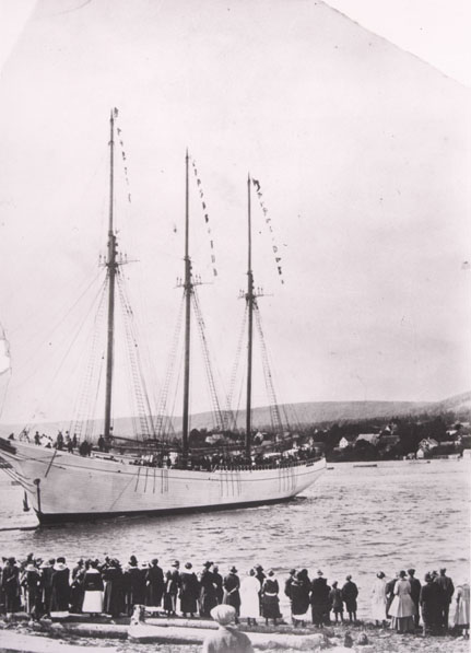 Unidentified three-masted, wooden-hulled and gaff-rigged schooner