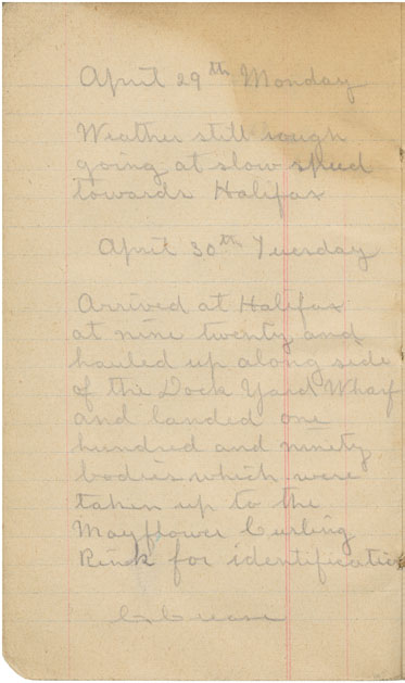Diary of Clifford Crease, mechanic on CS <i>Mackay-Bennett</i>