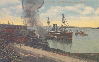 ''Train Leaving Wharf, Yarmouth, NS''