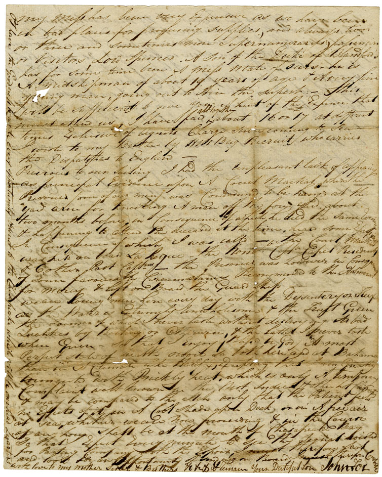 Letter from Dr. John Fox, Assistant Surgeon, HMS <i>Majestic</i>, Chesapeake Bay, to his father, Cornelius Fox
