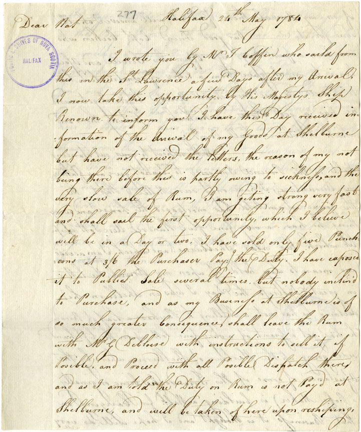 Part of letter to Nathaniel Whitworth apparently from his brother Charles.