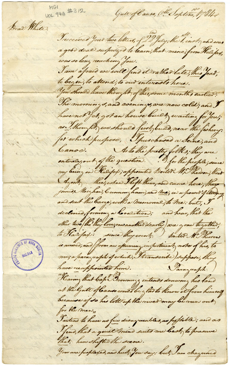 R. F. Brownrigg to Gideon White, in receipt of letter.