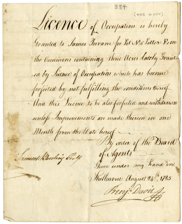 Licence of occupation for lot no. 5, granted to James Torrane, to be forfeited and withdrawn unless improvements be made.