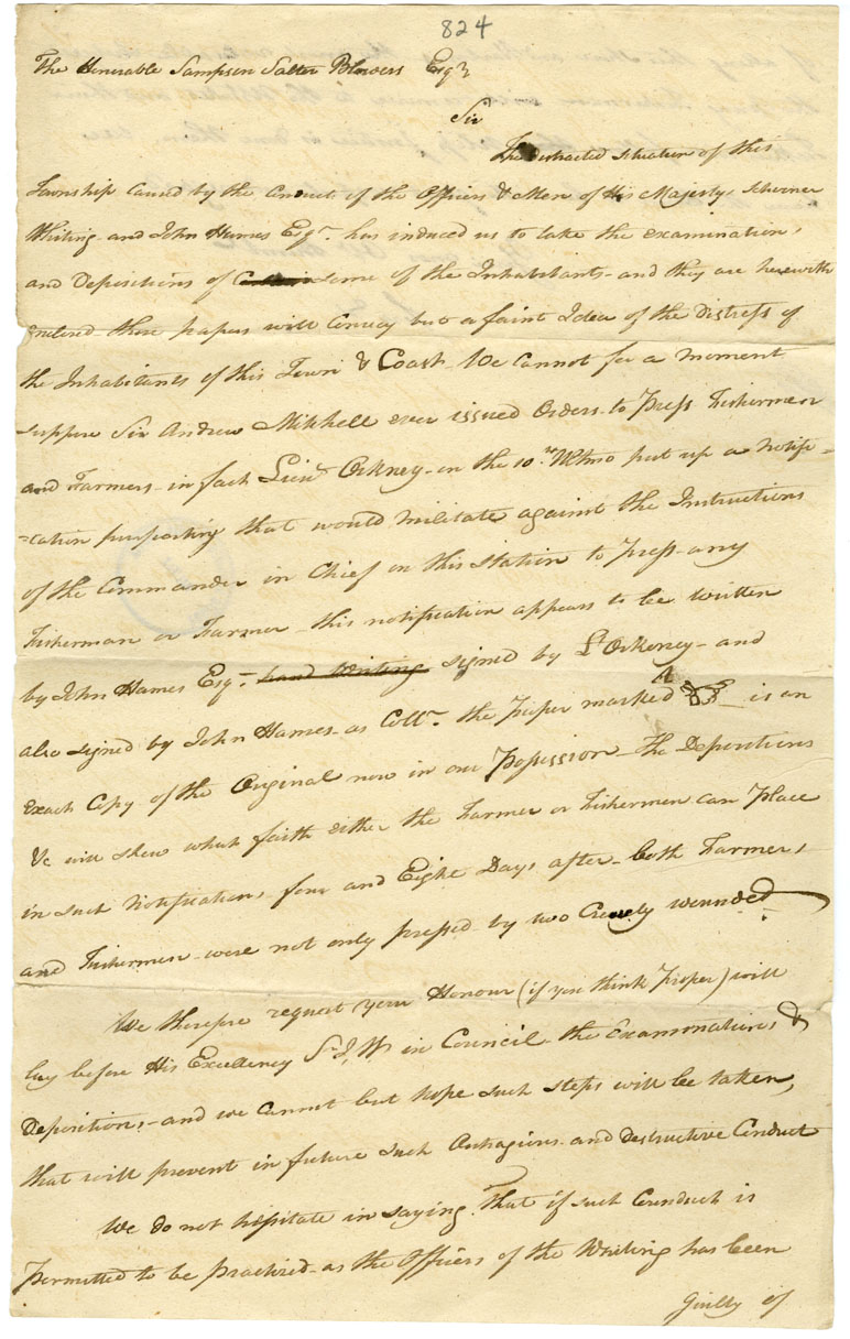 [Draft of] letter from unnamed citizens of Shelburne to Chief Justice Blowers relative to the impressing of persons on board the <i>Whiting</i>: